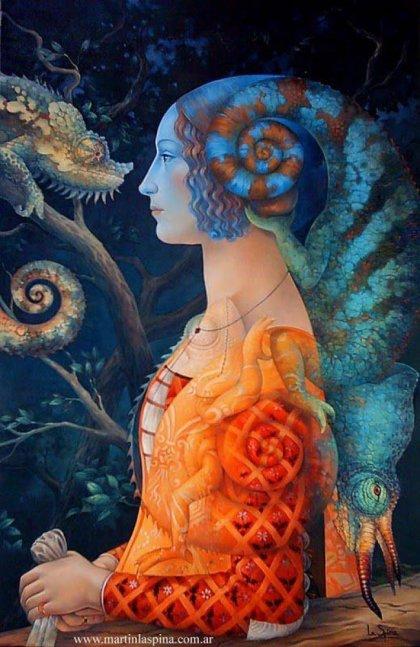 Mujer y camaleón de Martín La Spina